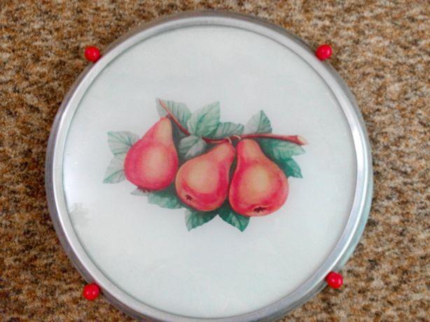 Яркие фрукты стеклянное блюдо, раритет, 50-60 гг
