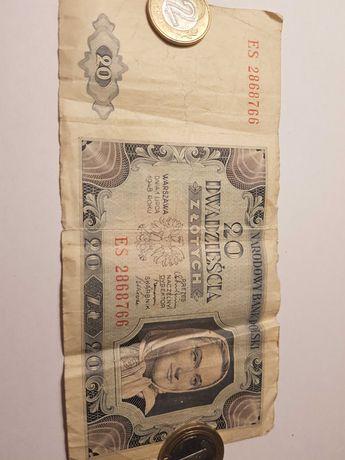 banknot o nominale 20 złotych z roku 1948
