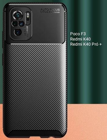 Capa T/ Fibra carbono Xiaomi Poco F3 / Redmi K40 / Redmi K40 Pró -24h