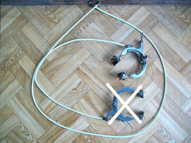 Oryginalny hamulec tylny z linką i manetką na kierownicę roweru Wigry