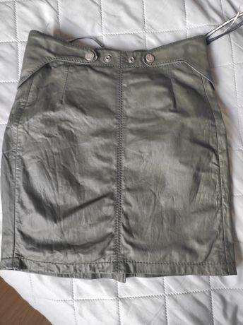 Skórzana spódnica khaki Diesel XS 34 26