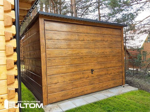 Drewnopodobny garaż blaszany z bramą uchylną blaszak jednospadowy
