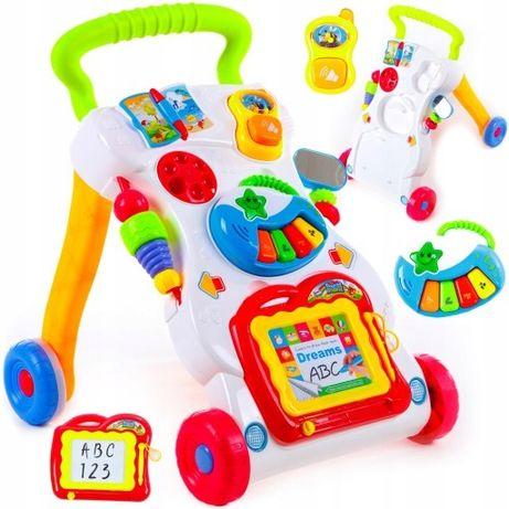 Chodzik interaktywny pchacz edukacyjny jeździk 3w1