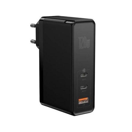 Zasilacz Ładowarka Baseus GaN 120W 3x (USB C+C+A) Nowa Czarna PD 3.0