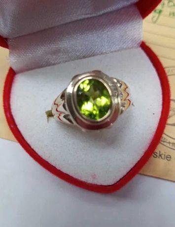 Zloty pierścionek z OLIWINEM