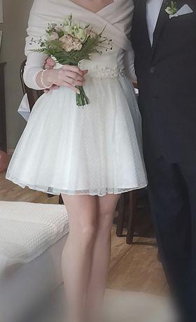 Sukienka ślubna ecru, suknia ślubna krótka
