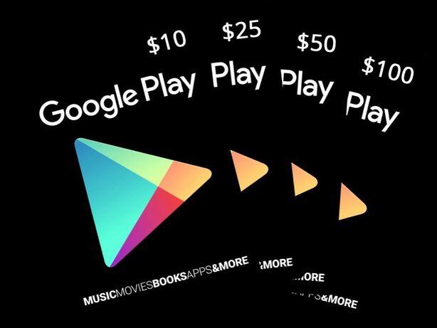 Google Play Gift Card 10,15,25,50 и 100$ Play Market сертификаты карты