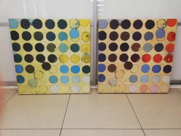 Dwa obrazy w kolorowe kola cena za 2 sztuki