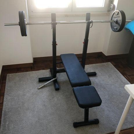 Banco musculação, barra e pesos