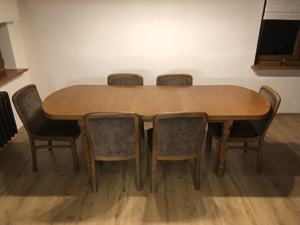 Drewniany stół z zestawem krzeseł (6szt.)