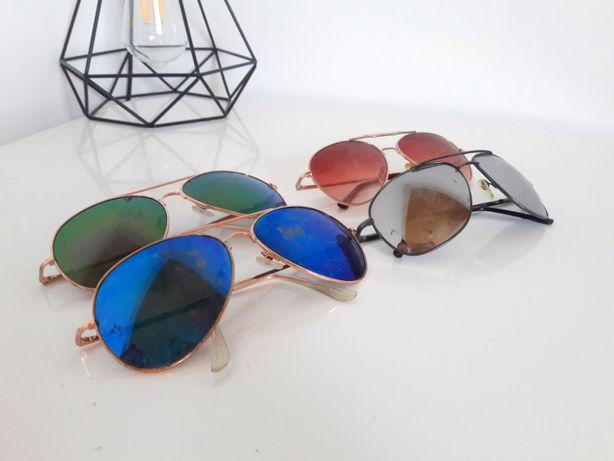 Okulary przeciwsłoneczne okulary kolorowe retro pilotki