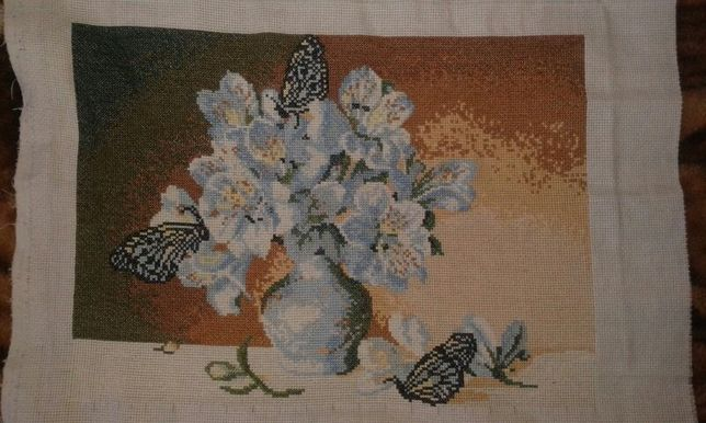 "Картина ""Цветы и бабочки"""