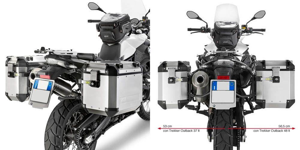 Aluminiowe Kufry boczne i stelaż BMW F800GS GIVI OUTBACK TREKKER,