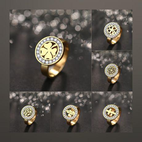 Piękne Złote Pierścionki Różne Wzory Krystaliczne Cyrkonie