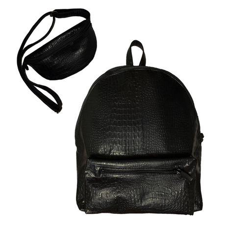 Бананка в подарок!! Кожаный рюкзак из кожи крокодила + поясная сумка!
