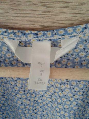 Błękitna sukienka ciążowa w kwiatki HM S
