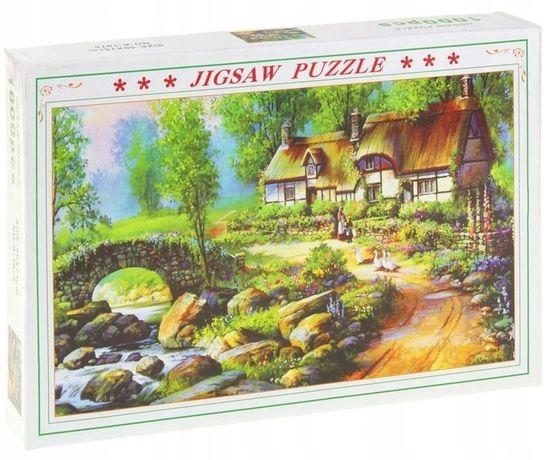 Puzzle 1000El Dom Chata Na Wsi Las Przyroda Pejzaż -Superzabaweczki-