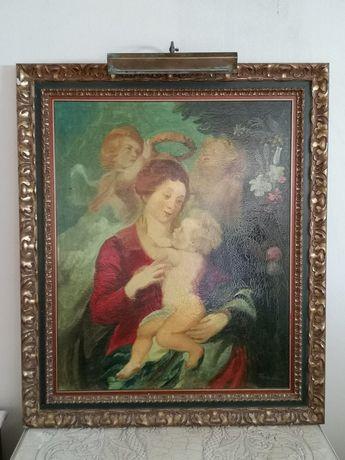 Quadro pintado à mão e tela, com iluminacão