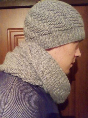 Мужская зимняя шапка + снуд