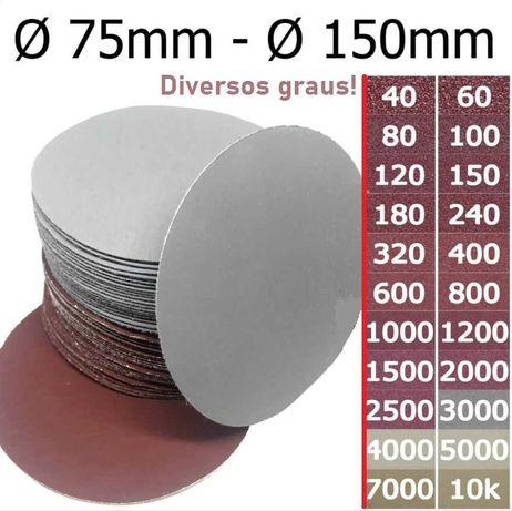 Packs 10 ou 50 uni de lixa velcro de Ø75/125/150/180/225mm mais pratos