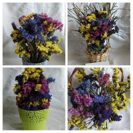 Композиции из сухоцветов в кашпо,корзине
