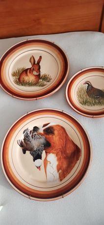 Pratos barro alentejano pintados com motivos de caça