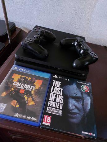 PS4 Slim 1TB + 2 Comandos + 3 Jogos