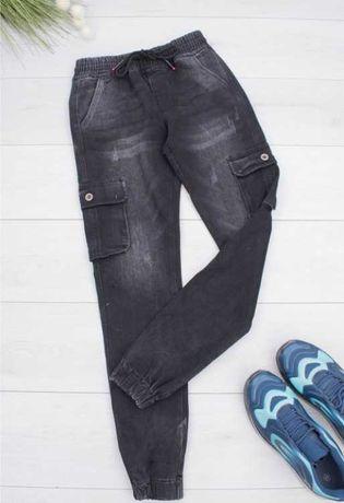 Джинсы карго с накладными карманами