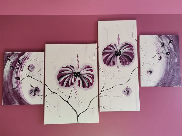 Tryptyk kwiaty 4 obrazy j nowy na płótnie czarny złoty fioletowy