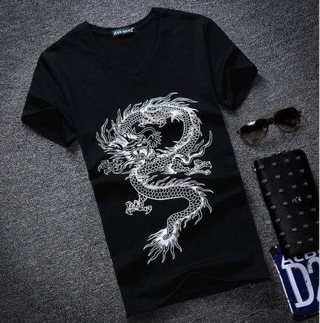 Черная мужская футболка хлопок на подpосткa T-Shirt с коротким рукавом