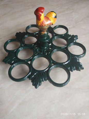 Чугунная подставка держатель для яиц петушок декор