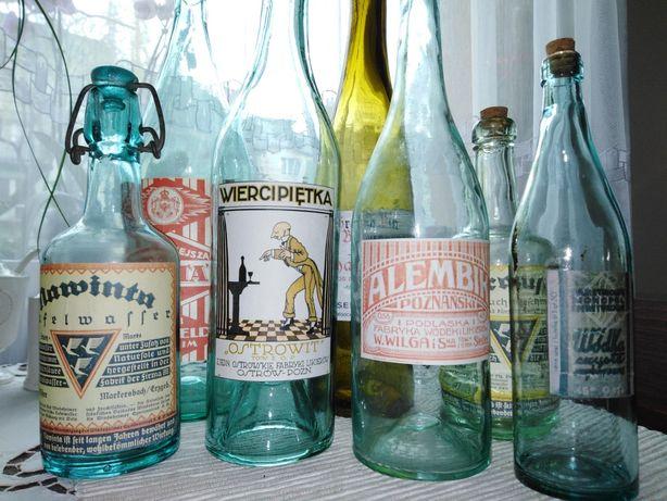 Butelki przedwojenne z etykietami