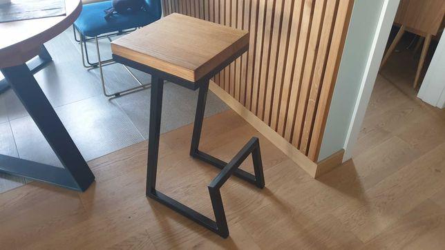 Hoker krzesło barowe loftowe industrialne lity dąb + metal  od ręki