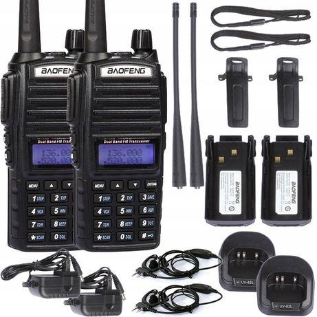 2XBaofeng UV-82 HTQ 8W Radiotelefon Krótkofalówka Rozblokowany Policja