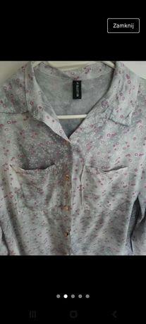 Szara luźna koszula w kwiatki 38 M
