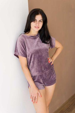 велюровая нежная пижама с шортами