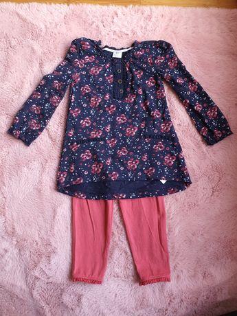 Zestaw komplet bluzeczka tunika legginsy F&F 9 12 msc 80 cm na wiosne
