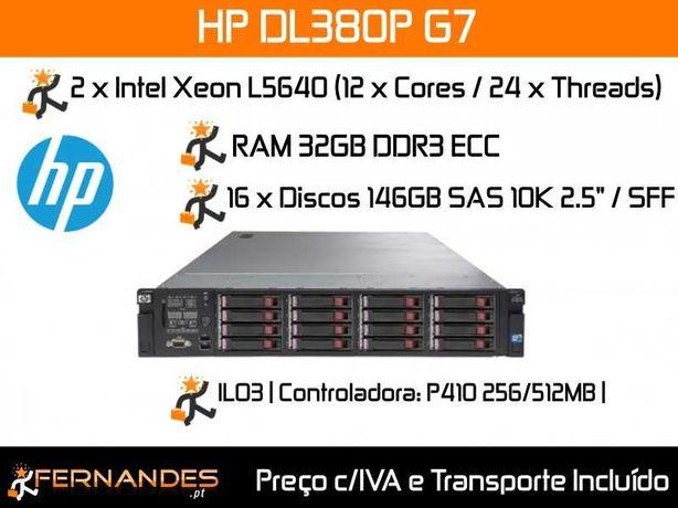 Servidor HP DL380 G7 | 24vCPUs | 16 x 146GB SAS 10K = 2,3TB | 32GB RAM