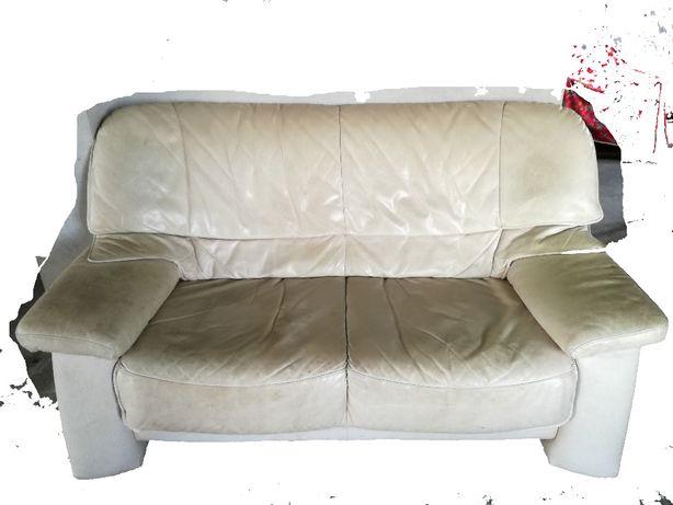 Kanapa, sofa, fotel z Niemiec - zestaw 3+2+1 - skóra / skórzana