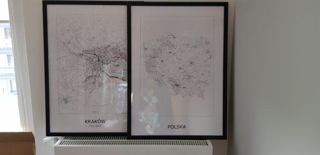 Obraz duzy 50x70 mapa Krakowa Mapa Polski mapa Warszawy