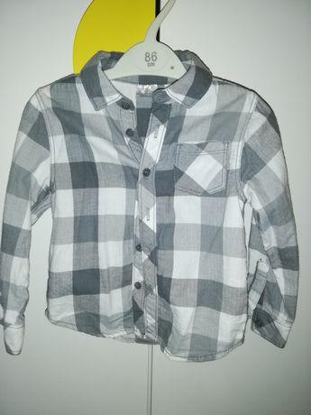 Koszula kratka szaro biała 18-24m