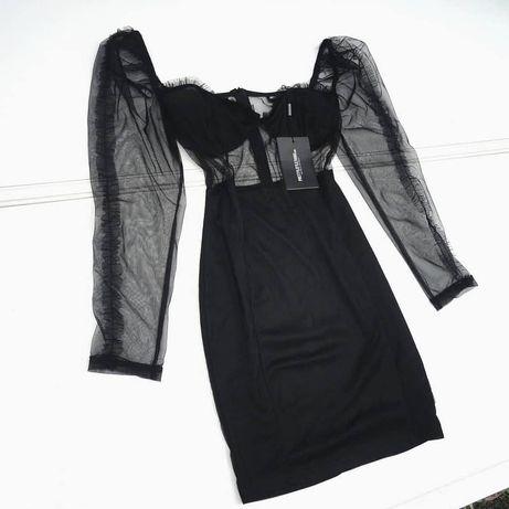 Черное Платье с обьемными рукавами PLT