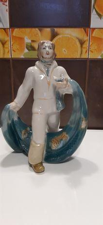 Рыбак с неводом фарфор Полонне статуэтка СССР
