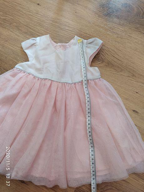 Sukienka różowa chrzest wesele roczek 6-9M 68-74cm