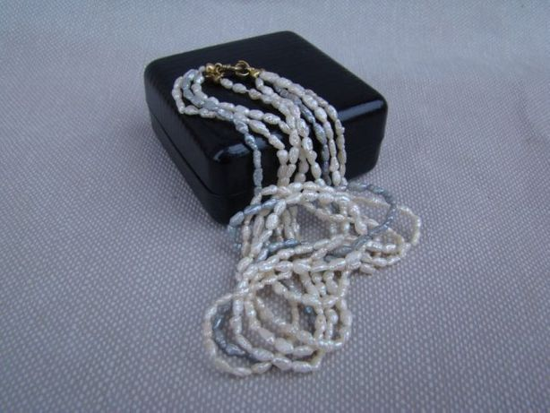 Perły ze srebrnym zapięciem - zlocone