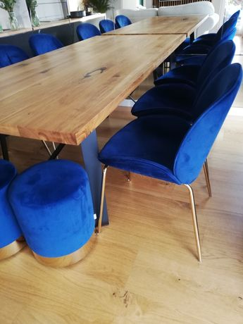 Krzesła tapicerowane welurowe granat 6szt