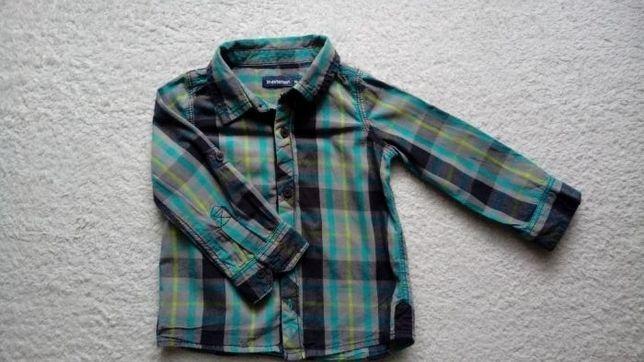 Koszula chłopięca w kratę z długim rękawem rozm. 86