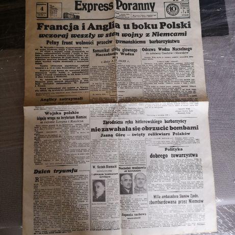 Gazeta Expressu Poranny z 4. 09.1939 roku