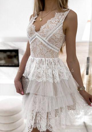 Sukienka biała beżowa koronkowa elegancka lou