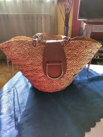 Kosz/torba plażowa zakupowa wiklina skóra Bata